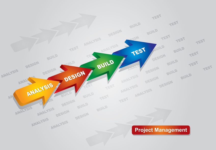 Project management chart with arrows, and abstract background